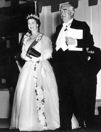 Queen Elizabeth and Robt Menzies 1954