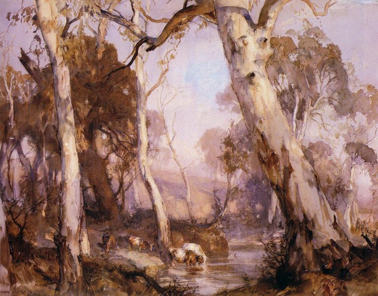 Hans                   Heysen Cattle Drinking