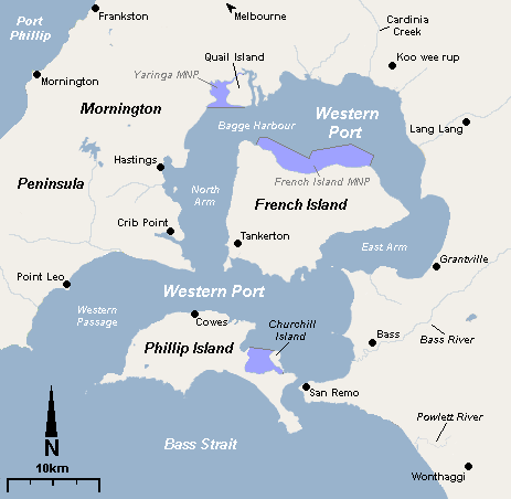 Frensh and Phillip Islands map